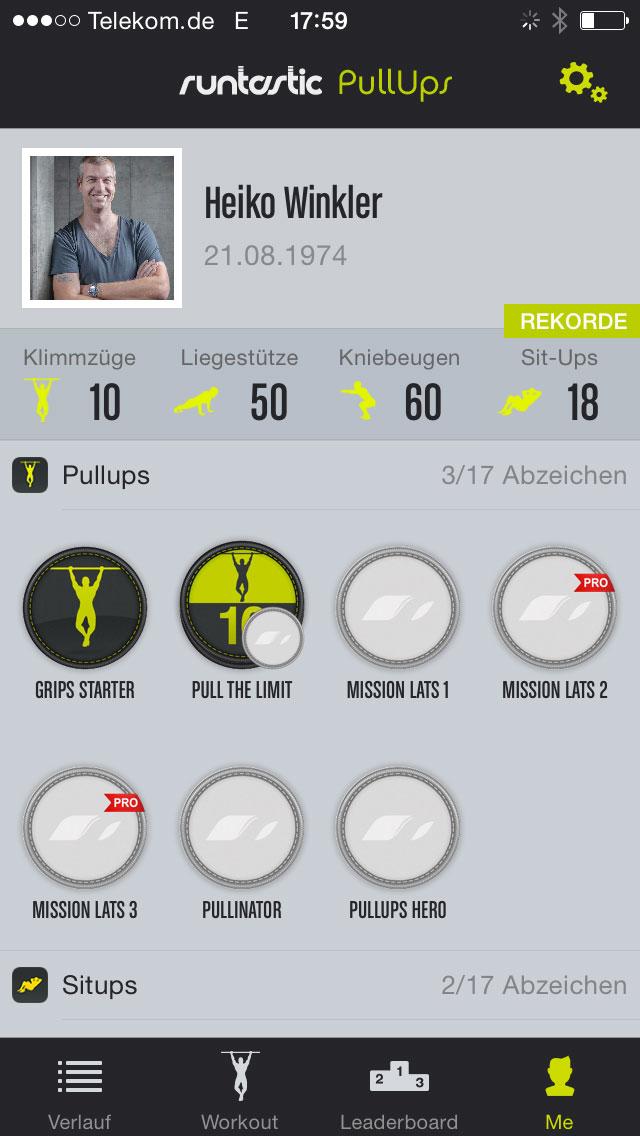 Heiko Winkler, aoty® GmbH, zeigt seine Runtastic-Statistik